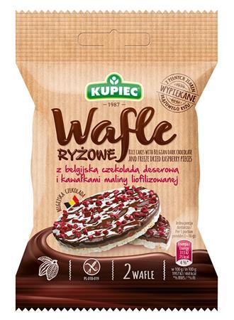 Puffasztott rizskeksz, 32 g, KUPIEC, belga étcsokoládéval és szárított málnával