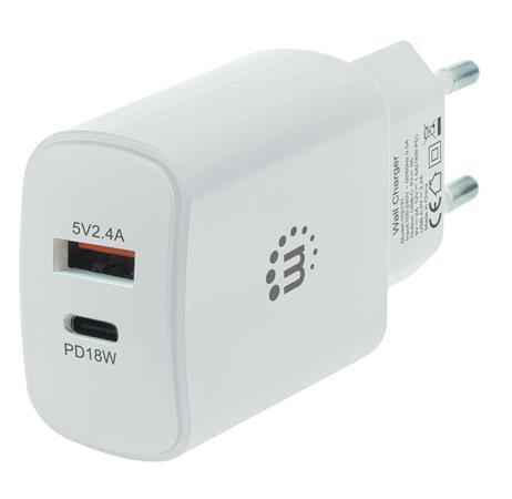 Hálózati töltő, USB-C/PD/18W, USB-A, MANHATTAN, fehér