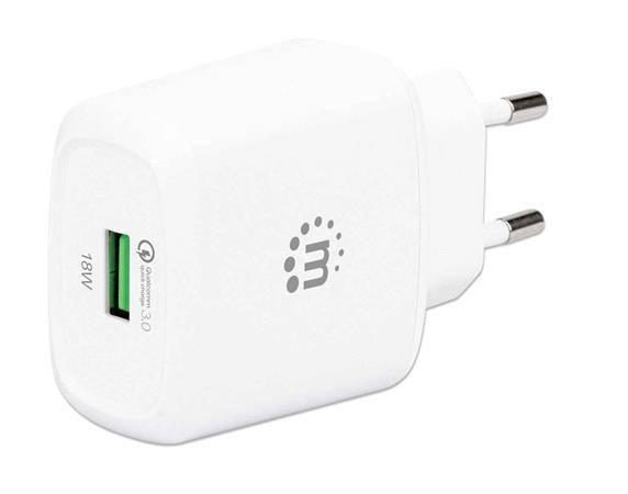 Hálózati töltő, QC 3.0/18W, USB-A, MANHATTAN, fehér