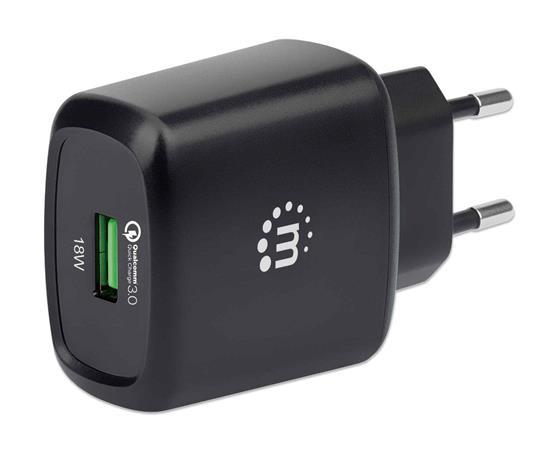 Hálózati töltő, QC 3.0/18W, USB-A, MANHATTAN, fekete