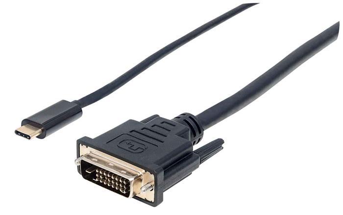 USB-C - DVI kábel, 2 m, MANHATTAN