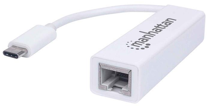 Ethernet adapter, Gigabites, USB-C csatlakozás, MANHATTAN, fehér