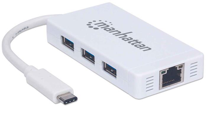 USB elosztó-HUB, USB-C csatlakozás, 3xUSB 3.0, Gigabit Ethernet adapter, MANHATTAN, fehér