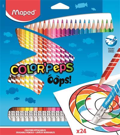 Színes ceruza készlet, háromszügletű, radírozható, MAPED