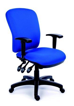 Irodai szék, állítható karfával, kék gyöngyszövet-borítás, fekete lábkereszt, MAYAH