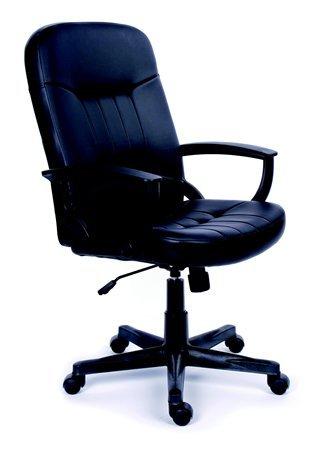 Főnöki szék, hintamechanikával, fekete bonded bőrborítás, fekete lábkereszt, MAYAH