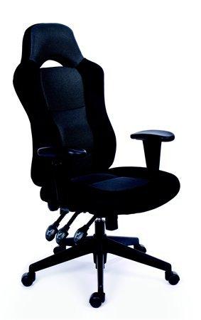 Főnöki szék, fekete/szürke gyöngyszövet-borítás, fekete lábkereszt, MAYAH