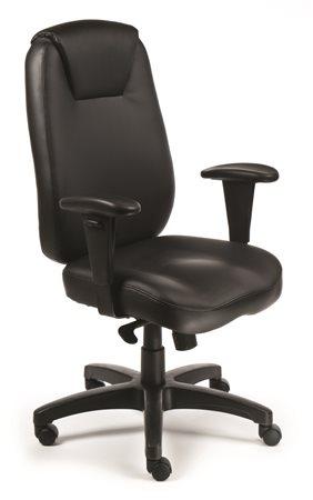 Főnöki szék, szinkronmechanikával, fekete bonded bőrborítás, fekete lábkereszt, MAYAH