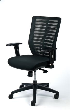 Irodai szék, fekete szövetborítás, feszített hálós háttámla, fekte lábkereszt, MAYAH