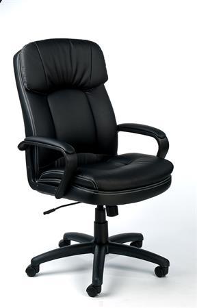 Főnöki szék, hintamechanikával, fekete bonded bőrborítás