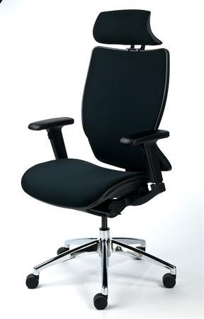 Főnöki szék, fejtámasszal, fekete szövetborítás, feszített szövet háttámla, fekete lábkereszt, MAYAH
