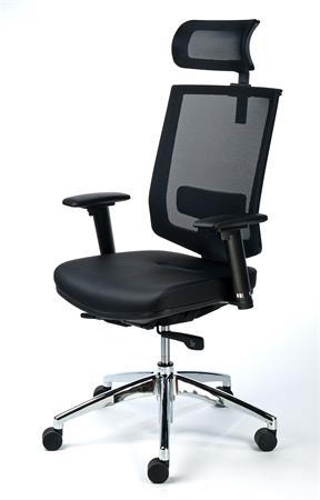 Exkluzív fejtámaszos irodai szék, fekete bőrborítás, feszített hálós háttámla, fekete lábkereszt, MAYAH