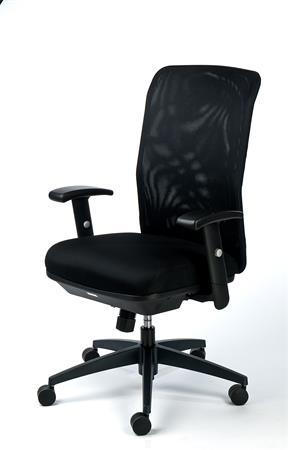 Irodai szék, karfás, fekete szövetborítás, feszített hálós háttámla,fekete lábkereszt, MAYAH