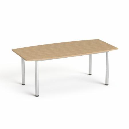 Tárgyalóasztal, íves, szürke fémlábbal, 80/95x190 cm, MAYAH