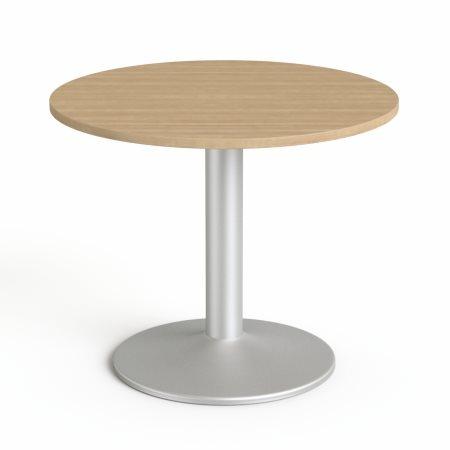 Tárgyalóasztal, kör, szürke fémlábbal, O 90 cm, MAYAH