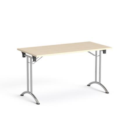 Összecsukható tárgyalóasztal, behajtható fémlábakkal, 130x65 cm, MAYAH