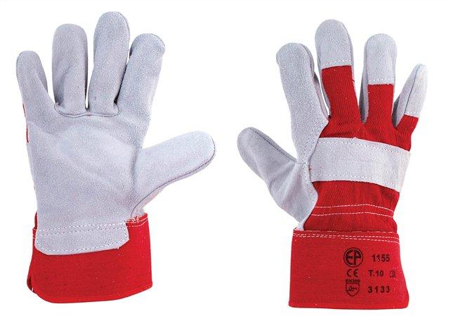 Védőkesztyű, marha hasítékbőr, 10-es méret, szürke/piros