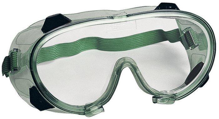 Védőszemüveg, gumipántos, vegyszerálló polikarbonát,