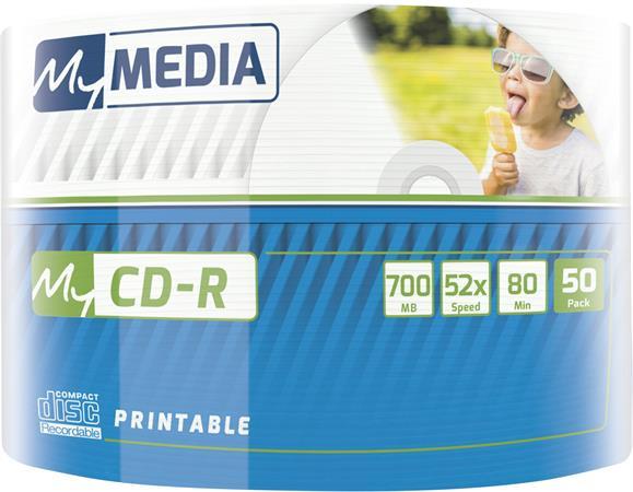 CD-R lemez, nyomtatható, 700MB, 52x, zsugor csomagolás, MYMEDIA