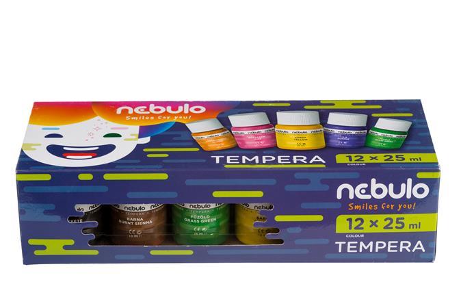 Tempera készlet, tégelyes, 25 ml, NEBULO, 12 különböző szín