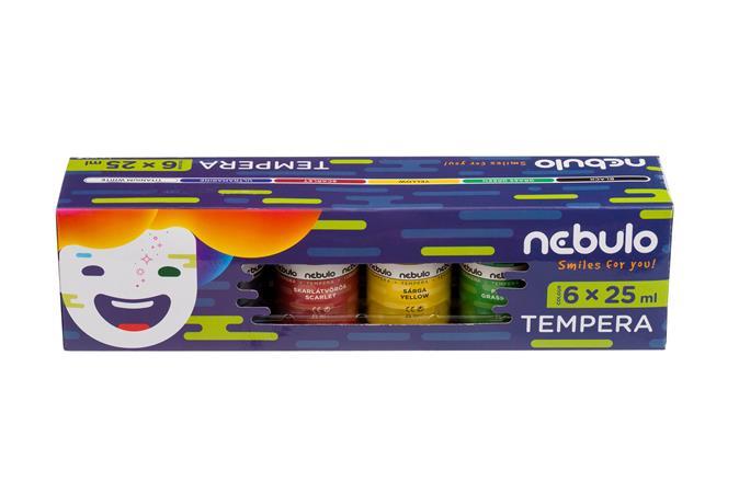 Tempera készlet, tégelyes, 25 ml, NEBULO, 6 különböző szín