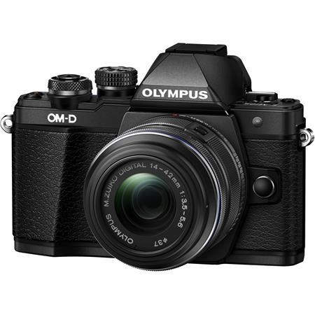 Fényképezőgép, fekete váz, EZ-M1442, fekete objektív, OLYMPUS