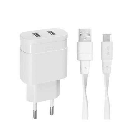 Hálózati töltő, 2 x USB, 3,4A, USB-C kábellel, RIVACASE