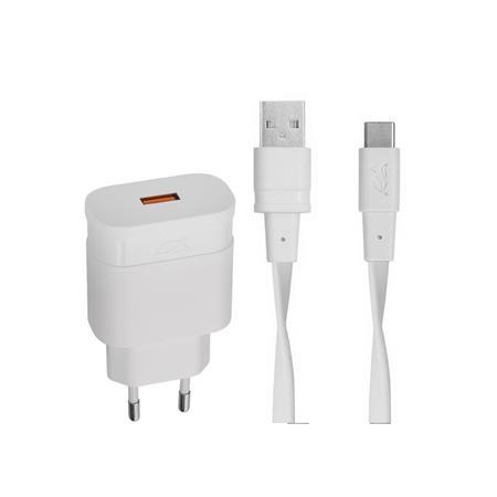 Hálózati töltő, 1xUSB, 18W, QC 3.0, USB-C kábel, RIVACASE