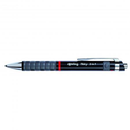 Multifunkciós írószer, nyomógombos, fekete tolltest, ROTRING