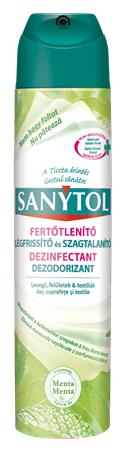 Légfrissítő, fertőtlenítő, 300 ml, SANYTOL, menta