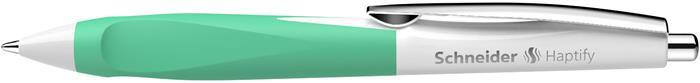 Golyóstoll, 0,5 mm, nyomógombos, fehér-menta színű tolltest, SCHNEIDER