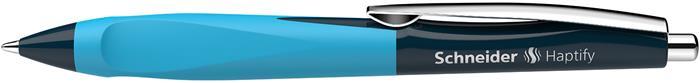 Golyóstoll, 0,5 mm, nyomógombos, sötétkék-ciánkék színű tolltest, SCHNEIDER