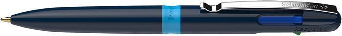 Golyóstoll, 0,5 mm, nyomógombos, négyszínű, SCHNEIDER