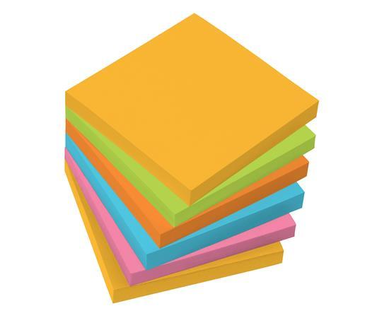 Öntapadó jegyzettömb, 75x75 mm, 100 lap, 6 szín, SIGEL, vegyes színek