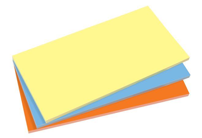 Öntapadó jegyzettömb, elektrosztatikus, 100x200 mm, 100 lap, SIGEL, 3 különböző szín