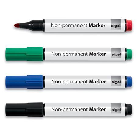 Alkoholmentes marker készlet, 1-3 mm, kúpos, SIGEL, 4 különböző szín