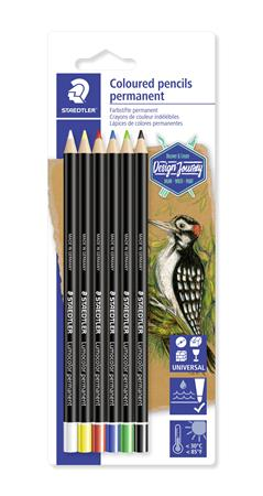 Színes ceruza készlet, henger alakú, mindenre író, vízálló (glasochrom), STAEDTLER
