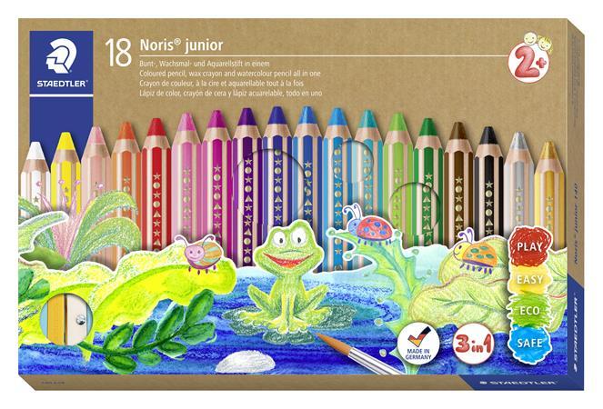 Színes ceruza készlet, 3 in 1, hatszögletű, félhosszú, vastag, ajándék hegyezővel és ecsettel, STAEDTLER