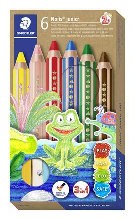 Színes ceruza készlet, 3 in 1, hatszögletű, félhosszú, vastag, ajándék hegyezővel, STAEDTLER