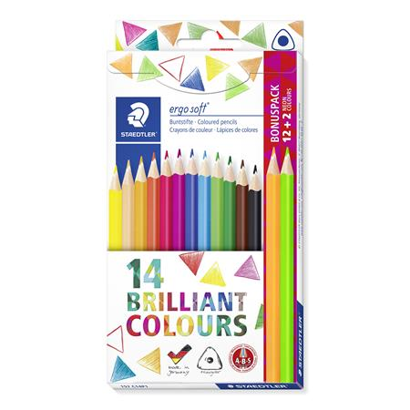 Színes ceruza készlet, háromszögletű, ajándék 2 db színes ceruzával, STAEDTLER