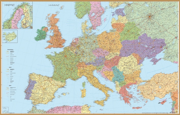 európa térkép részletes Falitérkép, 136x90 cm, fakeret, tűzhető, Európa autótérképe  európa térkép részletes