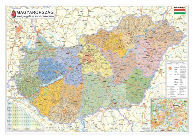 Falitérkép, 70x100 cm, fémkeret, tűzhető, Magyarország közigazgatási térképe, STIEFEL