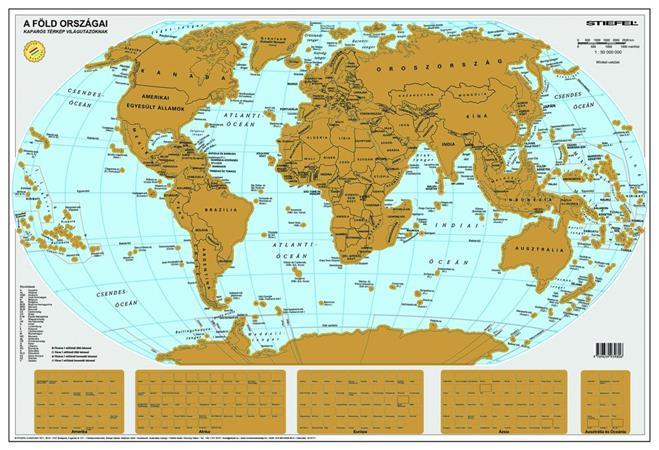 Kaparós Föld országai térkép, 84x57 cm, STIEFEL, ezüst bevonat
