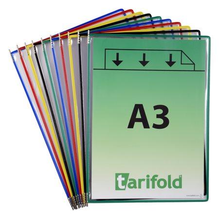 Bemutatótábla, A3, acélkeretes, álló, TARIFOLD, vegyes színek