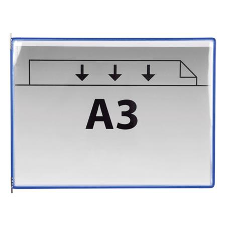 Bemutatótábla, A3, acélkeretes, fekvő, TARIFOLD, kék