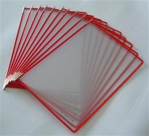 Bemutatótábla, A3, acélkeretes, fekvő, TARIFOLD, piros