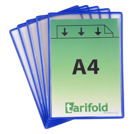 Információs tasak, A4, acélkeretes, álló, TARIFOLD, kék