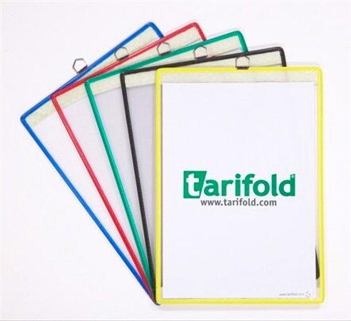 Bemutatótábla, acélkeretes, függő, A4, álló, fém fülecskével, TARIFOLD, fekete