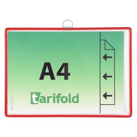 Bemutatótábla, függő, A4,  fekvő, fém fülecskével, TARIFOLD, piros