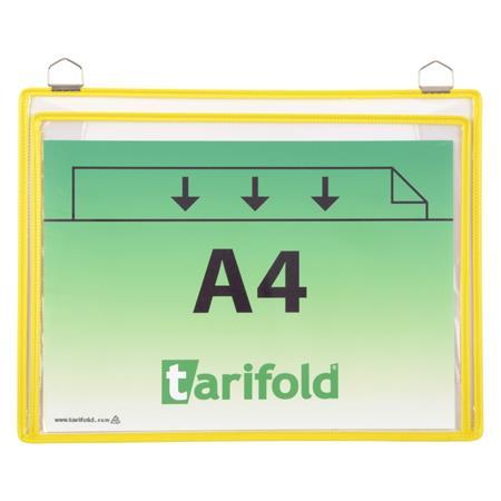 Bemutatótábla, függő, A4, redővel, fekvő, fém fülecskével, TARIFOLD sárga